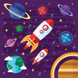 Vector Flat Outer Space Elements Royalty Free Stock Image