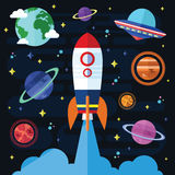 Vector Flat Outer Space Elements Stock Image