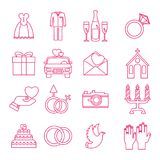Wedding icons outline set. Vector flat outline web icons of love and wedding ceremony. Objects isolated on white background Royalty Free Stock Photography