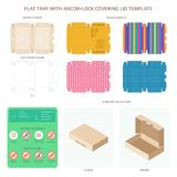 Vector flat packaging tray with anchor lock lid templates set.  stock illustration