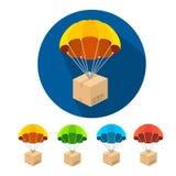Vector flat parachutes icons set Royalty Free Stock Photos
