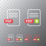Vector flat PDF file icon and vector pdf download icon set isolated on transparent background. Vector document or. Presentation icon design template for web Stock Images