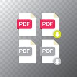 Vector flat PDF file icon and vector pdf download icon set isolated on transparent background. Vector document or. Presentation icon design template for web Stock Image