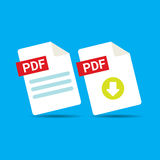 Vector flat PDF file icon and pdf download icon Royalty Free Stock Images