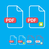 Vector flat PDF file icon and pdf download icon Stock Images