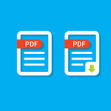 Vector flat PDF file icon and pdf download icon Stock Image