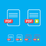 Vector flat PDF file icon and pdf download icon Stock Photography