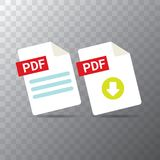 Vector flat PDF file icon and vector pdf download icon set isolated on transparent background. Vector document or. Presentation icon design template for web Royalty Free Stock Photography