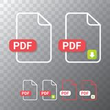 Vector flat PDF file icon and vector pdf download icon set isolated on transparent background. Vector document or. Presentation icon design template for web Stock Photography