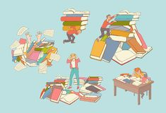 Free Vector Flat People Books Education Exhaustion Set Stock Photography - 120038792