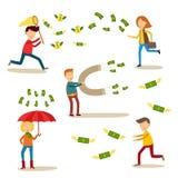 Vector flat people catching money scenes set Stock Images