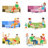 Vector flat people couple friends family sitting on sofa relax Stock Photos