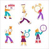 Vector flat people holding watche clock time sign stock illustration
