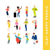 Vector flat people portraits collection isolated on white background. Royalty Free Stock Image