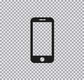 Vector flat phone icon on transparent background. Vector flat icon of phone black on a transparent background stock illustration