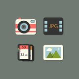 Vector flat photography icon set in color Stock Photo