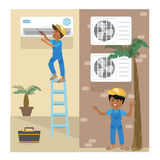 A vector flat picture specialists work with equipment. Installation or repair of air conditioner royalty free illustration