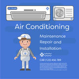 A vector flat picture specialists work with equipment. Installation or repair of air conditioner. Stock Photo