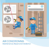 A vector flat picture specialists work with equipment. Installation or repair of air conditioner. Template for your billboard or banner Royalty Free Stock Photos