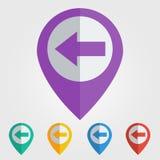 Vector flat pin with left arrow icon. Vector flat color pins with left arrow icon. File format eps 10 Royalty Free Stock Photos