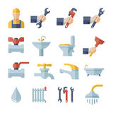 Vector flat plumbing  icons set Stock Photos
