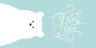 Vector flat polar bear illustration animal background. Royalty Free Stock Images