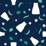 Vector flat polar bear illustration seamless pattern background. Stock Photography