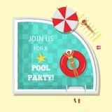 Vector flat pool swimming vacation party poster. Vector flat pool party poster, banner with swimming at inflatable ring woman, girl lying on a lounger near Royalty Free Stock Photo