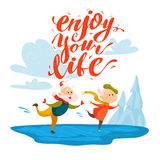Vector flat portrait of old cute loving couple doing figure skating. On white background. Cartoon style. Lettering. Grandparents characters illustration. Happy Royalty Free Stock Photo