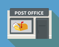 Vector flat post office and mail box. Vector post office. Flat building with mail box and letter icons Stock Images