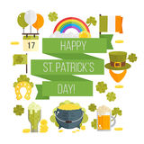 Vector flat poster for St.Patricks day Stock Photos