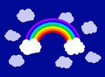 Vector Flat Rainbow and Clouds Illustration, Sky Background. stock illustration