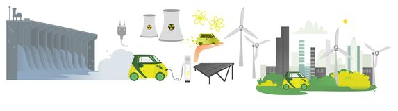 Vector flat renewable, alternative energy icon set. Hydroelectric dam, solar panel, nuclear reactor, windmill, power plants, power plug with wire, electric car Royalty Free Stock Photography