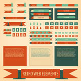 Vector flat retro vintage web elements set. Labels banners and emblems collection for design for games presentations, ui tablets, smart phones Stock Photo
