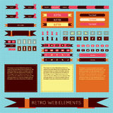 Vector flat retro vintage web elements set. Labels, banners and emblems. Collection for design. Smartphone and tablet graphic user interface Royalty Free Stock Photography