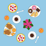 Vector flat romantic breakfast for two persons.. Set of bakery products, croissants, donuts, chocolate, oranges, peanut sandwich, strawberry, cereal, sweets Stock Photography