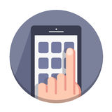 Vector flat round icons with a finger and a mobile device with gestures Stock Image
