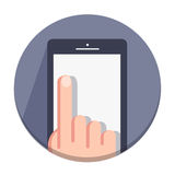 Vector flat round icons with a finger and a mobile device with gestures Royalty Free Stock Photography