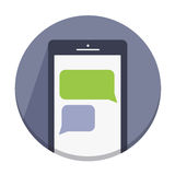 Vector flat round icons with a finger and a mobile device with gestures Royalty Free Stock Photos