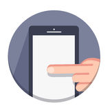 Vector flat round icons with a finger and a mobile device with gestures Royalty Free Stock Photo
