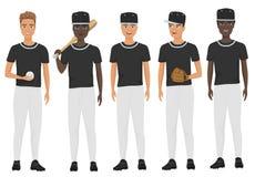 Vector flat school baseball guys team in uniform isolated. Vector flat school baseball guys team in uniform set Stock Photos