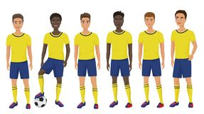 Vector flat school football soccer young guys team in uniform isolated. vector illustration