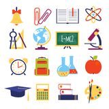 Vector flat school icons Royalty Free Stock Images