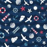 Vector flat sea design seamless pattern Royalty Free Stock Photos