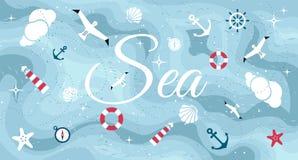 Vector flat sea design symbols Royalty Free Stock Photo