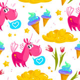 Vector flat seamless pattern with cute unicorn, stars,  ice cream cone, magic cloud, spring tulip flower and heart. Isolated on white background. Cartoon style Royalty Free Stock Images