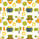 Vector flat seamless pattern for St.Patricks day Stock Images