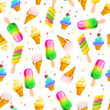 Vector flat seamless pattern with sweet ice cream cones, eskimo and confetti isolated on white background. Stock Photo