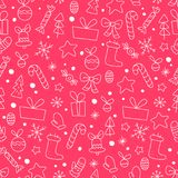 Vector flat seamless pattern with traditional Christmas decor icons - fir tree, decorati. On ball, snowflake, gift box, bell, star shape etc. - isolated on red Royalty Free Stock Photography