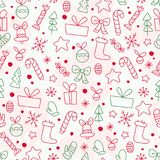 Vector flat seamless pattern with traditional Christmas decor icons. Fir tree, decoration ball, snowflake, gift box, bell, star shape etc. - isolated on white Stock Photography